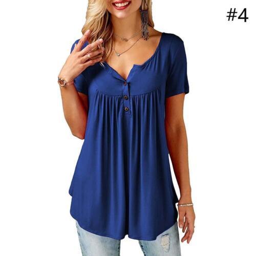 Damen-Asymmetrische Oversize Bluse Lässig-Oberteil Tops Sommer Shirt mit Knopf