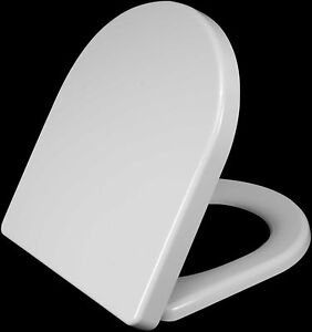 SOFT CLOSE TOILET SEAT WHITE BATHROOM HEAVY DUTY  WITH CHROME HINGES
