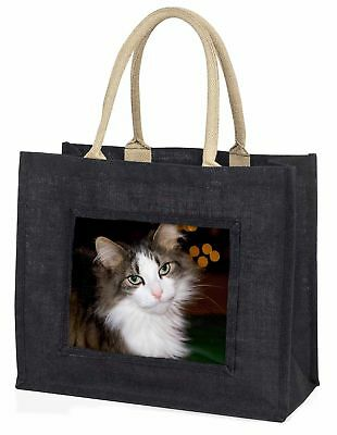 schön gefleckte Katze große schwarze Einkaufstasche Weihnachten Geschenkidee,