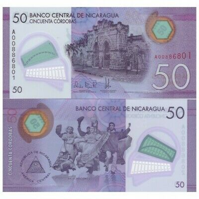 Nicaragua 50 Cordobas UNC A prefix 2015 2014 P-210