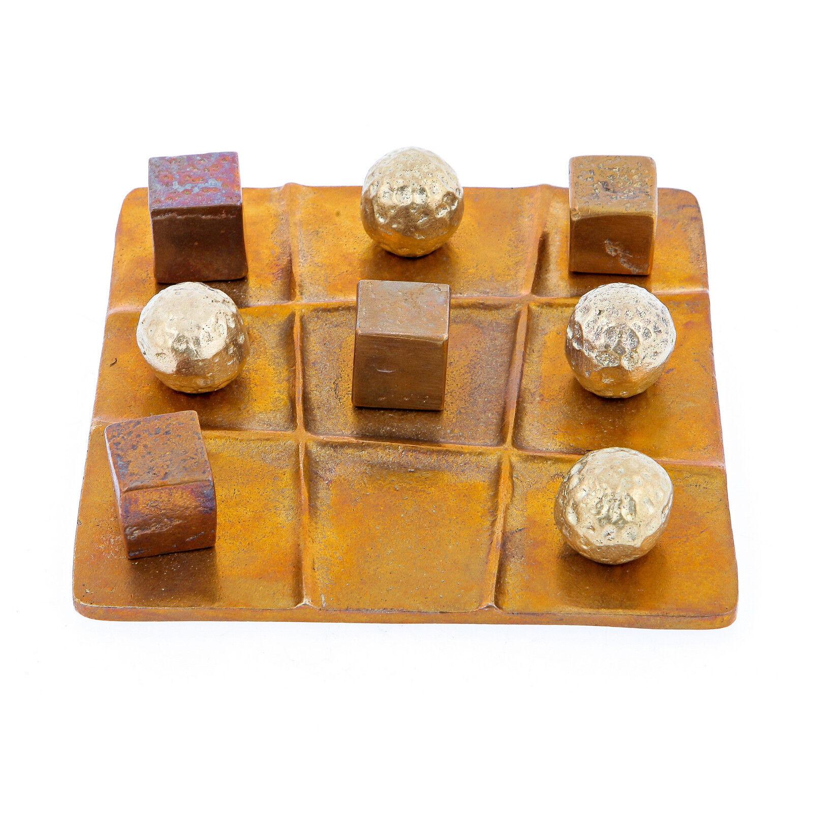 Tic Tac Toe Decorative Board Game - Handmade Solid Bronze - Table top Decor