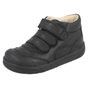 Boys Clarks black Leather Ankle Boots LilFolk Jax