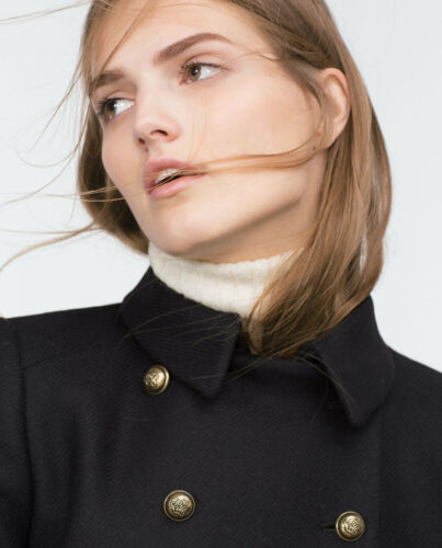 Black Short Medium Blazer Zara Jacket Buttons Coat Gold M Military Wool BqxEg5xRw