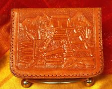 1950s Hand Tooled MEXICAN LEATHER Coin Purse~MAYAN El Castillo Pyramid~Kukulkan