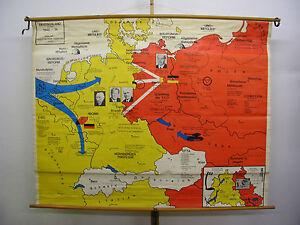 Details zu Schulwandkarte Wandkarte Deutschland Germany 1948-74 BRD DDR  201x159 Berlin map
