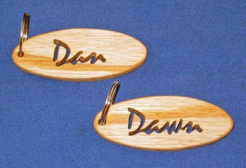 Script Personalized Hand Cut Oval Key Chain