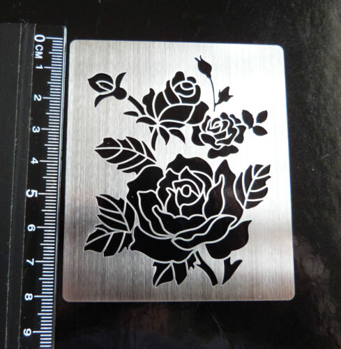 Acero Inoxidable//// Metal//plantilla//Oblongo//Recargado//ROSA//Floral//relieve//Nuevo