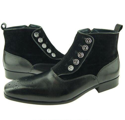 botas De Gamuza Cuero Negro para Hombre Hecho a Mano botones en el Tobillo Zapatos Informales Ropa Formal
