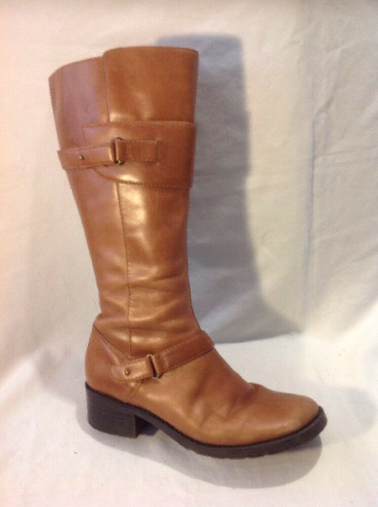 Dorothy Perkins Brown Mid Calf Leather Boots Size 5