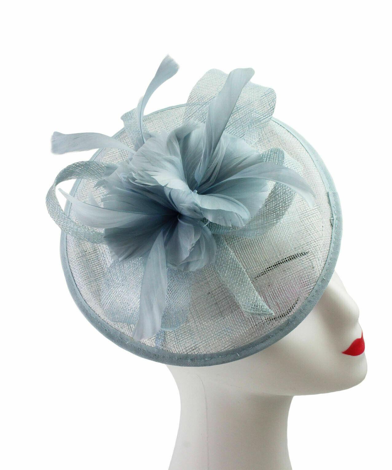 GRANDE Fiore Fascia Per Capelli Cappello Fascinator Con Piuma Matrimoni giorno razza Royal Ascot