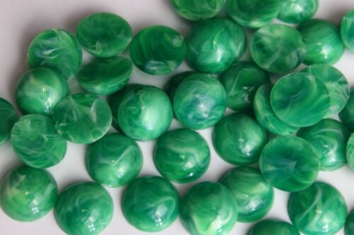 Green Round Cabochon Marble-Like Dome Top Flat Back 15 mm Vintage