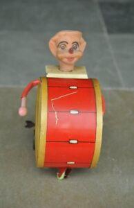Vintage-de-Cuerda-Payaso-Circo-Juego-Tambor-Litho-Estano-Juguete-Coleccionable