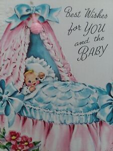 1954-Vtg-BABY-Cradle-w-Tiny-PINK-Plastic-RATTLE-EMBOSSED-CONGRATS-GREETING-CARD