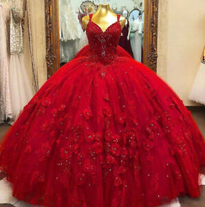 Red Quinceanera Ball Gown Dresses 3D Floral Flowers Sweet 16 Dress Puffy Party