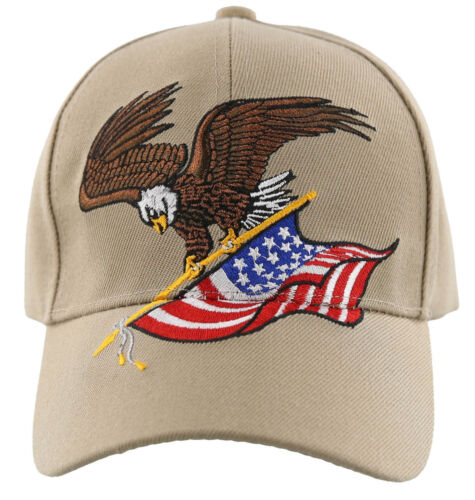 NEW EAGLE USA FLAG NEW BALL CAP HAT TAN
