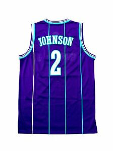 a0834a545038 Image is loading Larry-Johnson-Charlotte-Hornets-Away-Purple-Signed-Jersey-