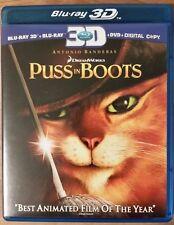 PUSS IN BOOTS: 3D & 2D Blu-Ray / DVD Antonio Banderas Guillermo Del Toro Anim