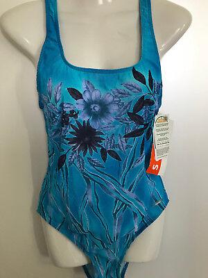 TanThru Badeanzug Durchbräunend Blüten Blau Urwald 42 B USA 12 GB 14 Solar Neu