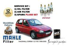 FOR VAUXHALL CORSA 1.2i 16V 1998-2000 OIL AIR FILTER + PLUGS SET SERVICE KIT