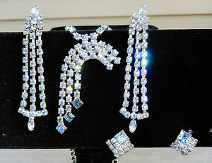 "Costume Bridal & Wedding Party Jewelry Ambitious Vtg 40s Weiss Old & Blue Rhinestone ""shooting Star"" Necklace/2 Pr Earrings~bride Low Price"
