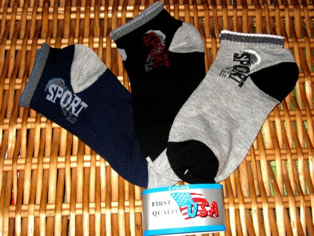 Mens SPORT ankle Athletic SOCKS FIRST QUALITY cotton blend9-11 3pair packs Solid