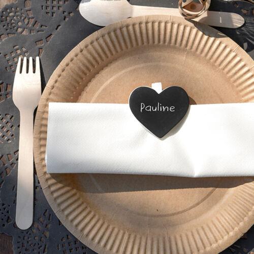 Klammer Kreidetafel Herz 5 x 4cm 6 Stk natur Mini Klammern Tischkarte Hochzeit