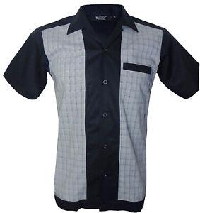 Rockabilly-Fashions-Retro-Vintage-Bowling-Men-039-s-Shirt-1950-1960-Black-Grey-S-3XL