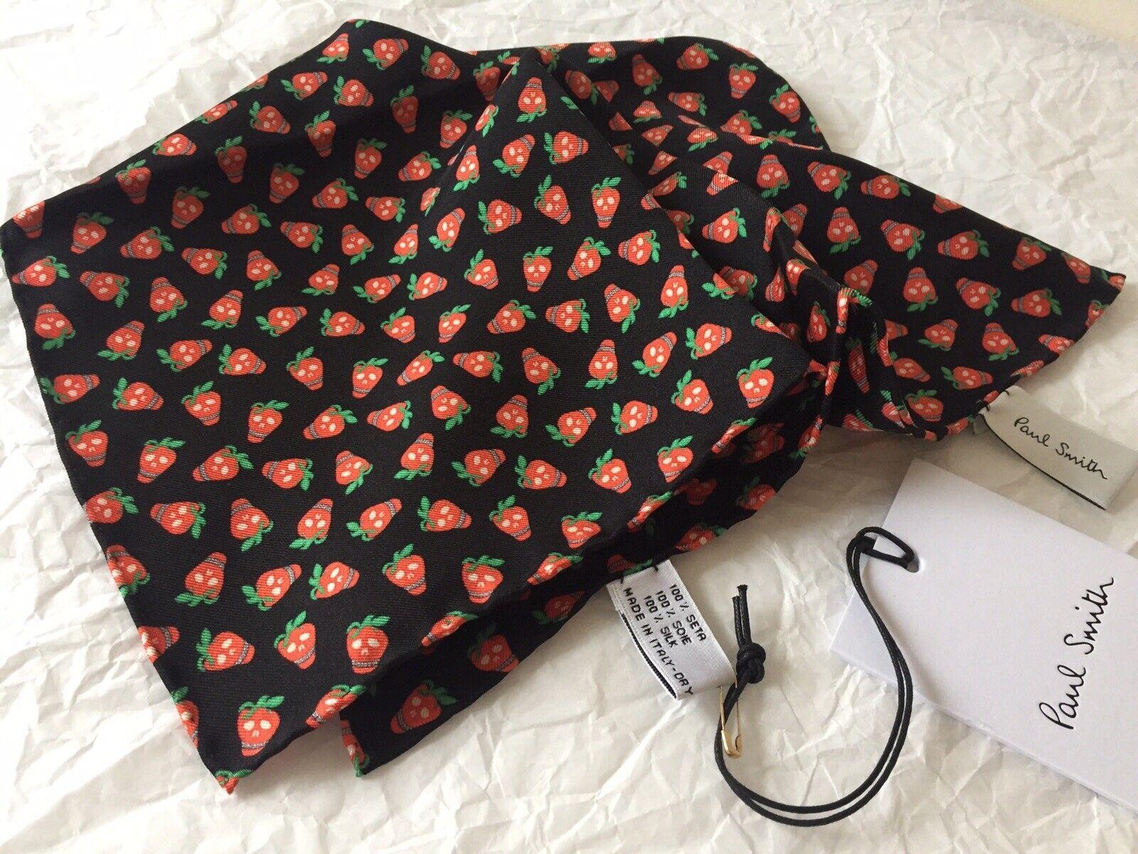 BNWT - Paul Smith Pocket Square Handkerchief 100% Silk Strawberry Skull RRP