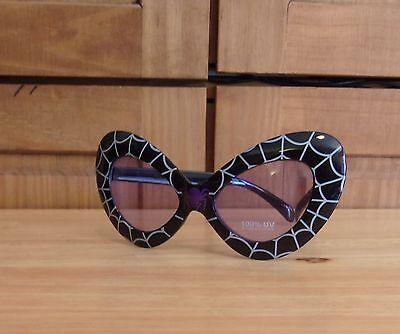 Halloween Costume Cat Sun Glasses Spider Web Black White Purple
