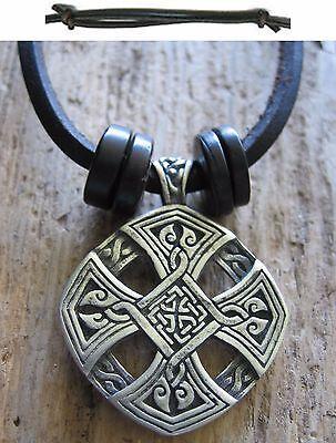Cross Of Life Amulett Kelten Holz Halskette Leder Herren Schwarz Kette Neu Kreuz