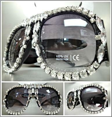 OVERSIZED EXAGGERATED Retro SUNGLASSES Thick Square Black Frame /& Bling Crystals