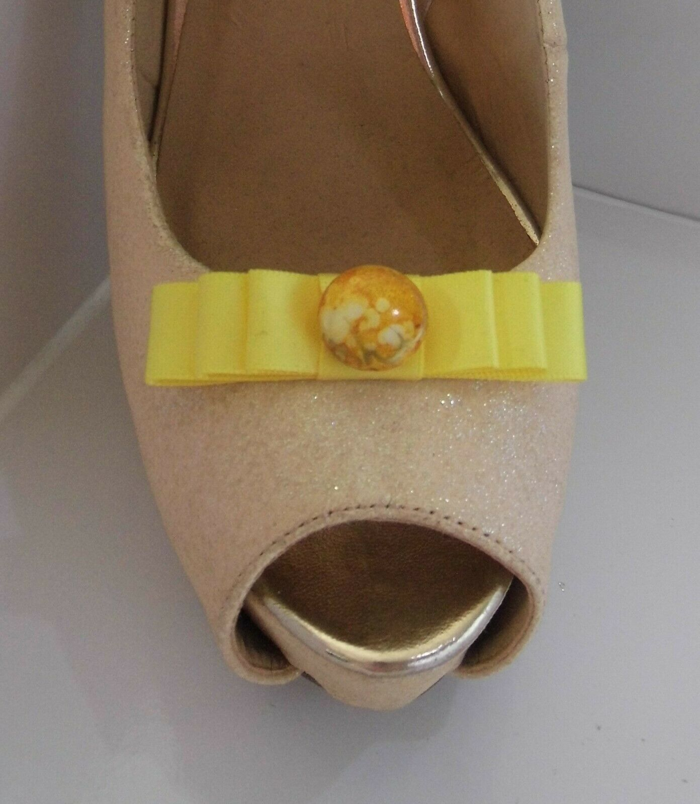 2 Small Lemon Bow Clips for Shoes with Marble Style Button Centre