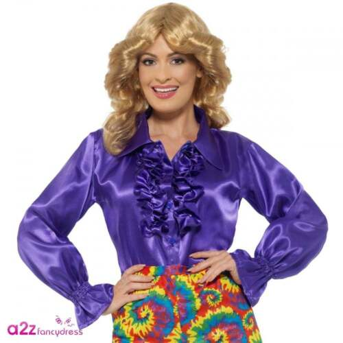 Ladies Satin Ruffle Shirt Purple Adult Womens 60s 70s Disco Fancy Dress Outfit