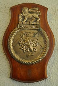 Vintage cast metal SAS Drakensberg plaque crest navy South African Ship