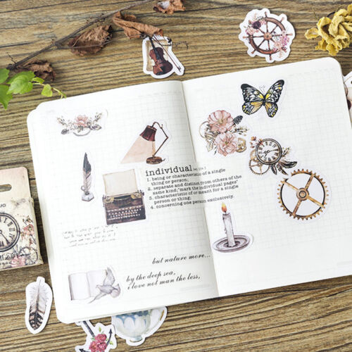 46pcs//lot  DIY Retro Paper Stickers Set Scrapbooking Photo Album Decorations Hot