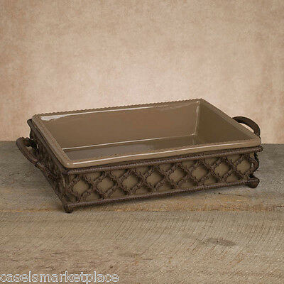 The GG CollectOgee-G Rectangular Taupe Ceramic Baker Serving Dish w/Metal Base *