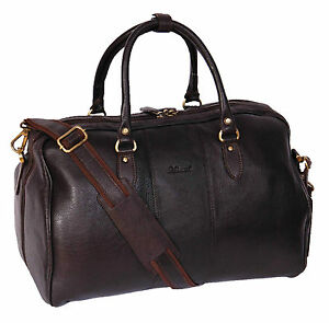 Genuine leather holdall weekend cabine voyage gym sports duffle casual sac marron 							 							</span>