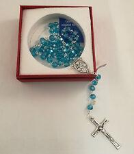Rosario Cristallo San Francesco Assisi con scatola regalo elegante blu corona