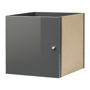 ikea kallax einsatz mit t r hochglanz grau 33x33 f r expedit kallax regal neu ebay. Black Bedroom Furniture Sets. Home Design Ideas
