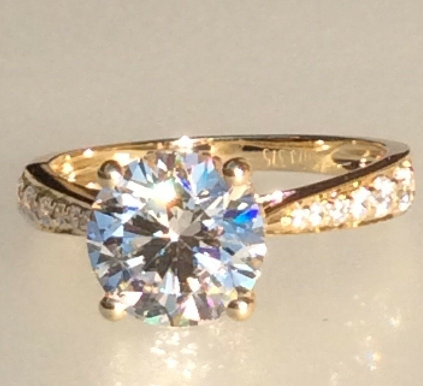Engagement ring gold  2.5ct simulated diamond engagement ring in 9K yellow gold