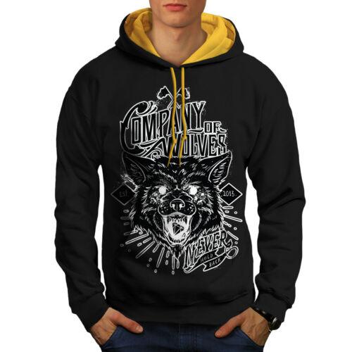 Hood Company Contrast Of gold Men Hoodie New Animal Black Wolves 4IPrzn4