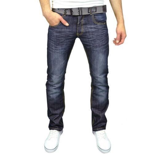NUOVA Linea Uomo Marca Crosshatch Wak Gamba Dritta Medio//Scuro Lavaggio Jeans CINTURA GRATIS *
