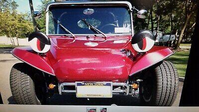 "VW DUNE BUGGY SANDRAIL  MARINE VINYL HEADLIGHT COVERS BLK//RED 7/"" PADDED INSERTS"