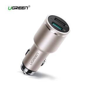 Cargador-coche-Qualcomm-Quick-Charge-3-0-USB-dual-UGREEN-30W-carga-rapida-dorado