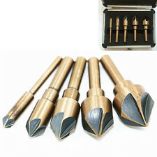 "5Pcs Industrial Countersink Drill Bit Set Tri-Flat Shank Quick Change 1/4""-3/4"""