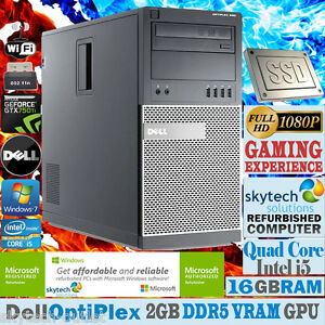 Rapido-Dell-Videojuego-Torre-Pc-Quad-Core-i5-16gb-Ram-Ssd-WiFi-HDMI-Ordenador
