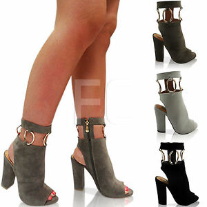 new womens flat high open heel block peep toe ankle boots