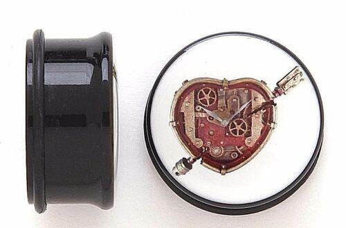 1 paire Coeur Steampunk Unique Flare bouchons d/'oreille Jauges Avec O Anneaux Pick Taille #858