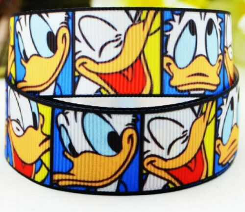 "Donald Duck Grosgrain Printed Character Ribbon 25mm 1/"" Cake Hair Birthday"