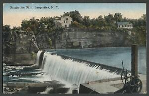 Saugerties-Ulster-Co-NY-c-1910s-Postcard-DAM-Sluice-Cranks-Cliffs-and-Homes